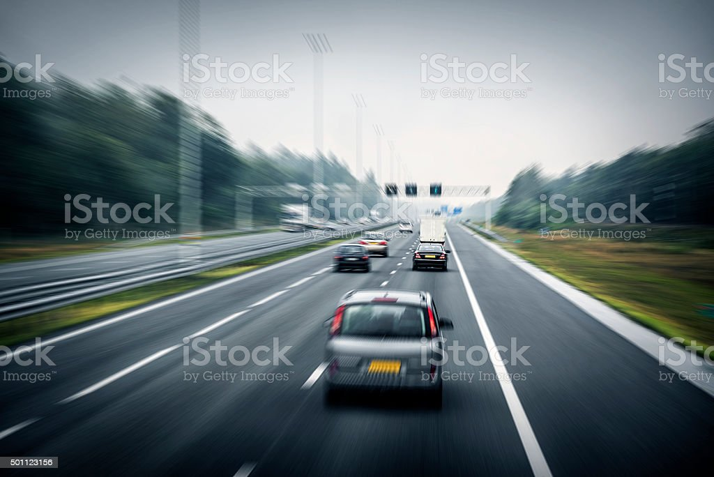 Traffic on the high way stock photo