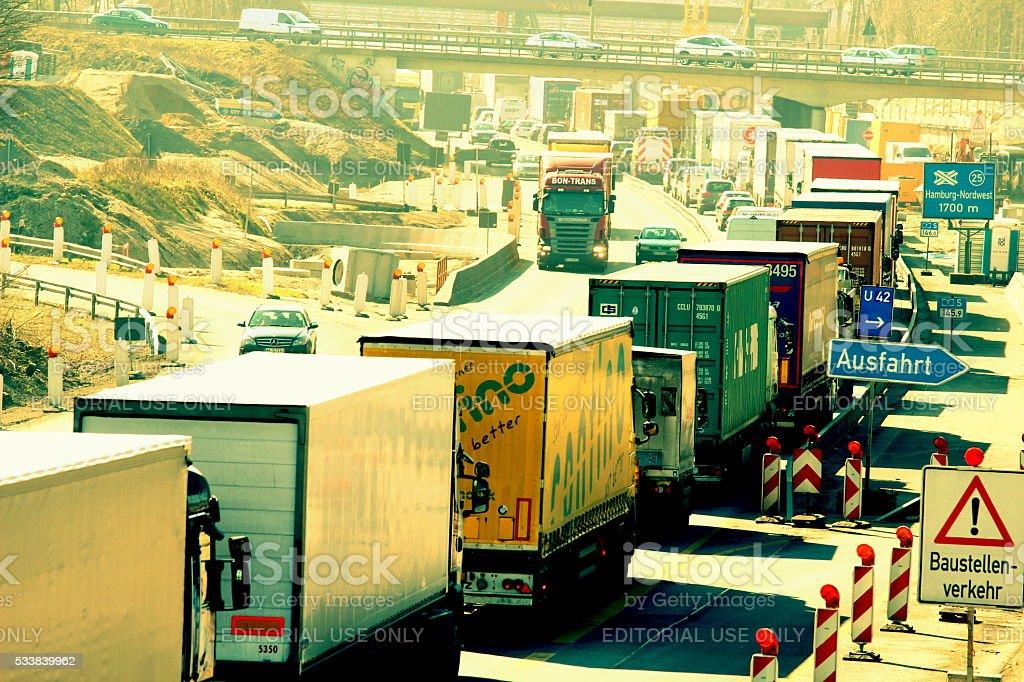 Traffic on the highway  Hamburg stock photo