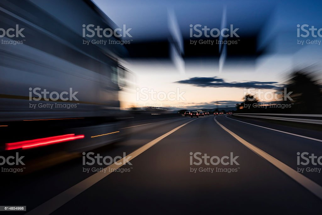 Traffic on the highway - motion blur stock photo