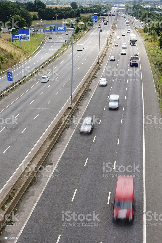 Traffic on the M5 motorway at Exeter in Devon stock photo