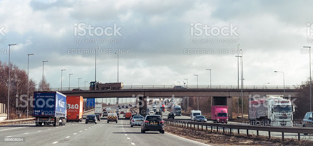 Traffic on the M6 Motorway in England stock photo