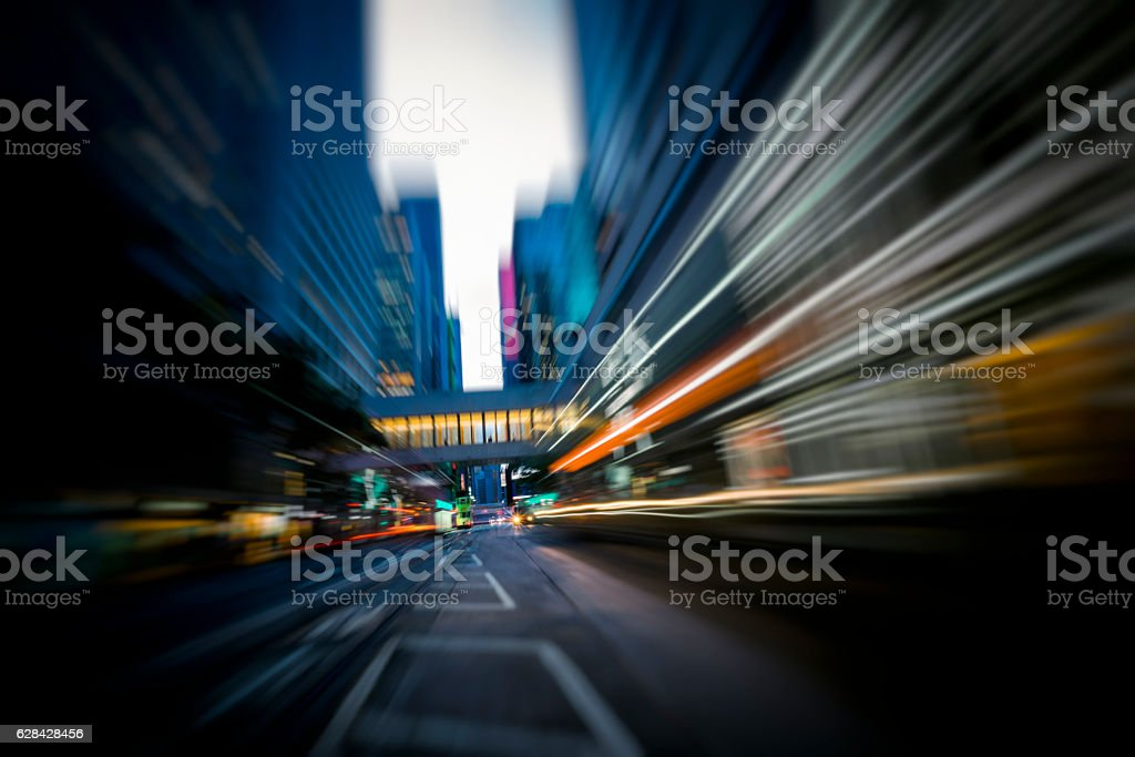 Traffic on the move at Hong Kong city street stock photo