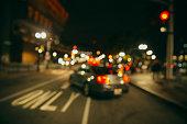 traffic on the night city street
