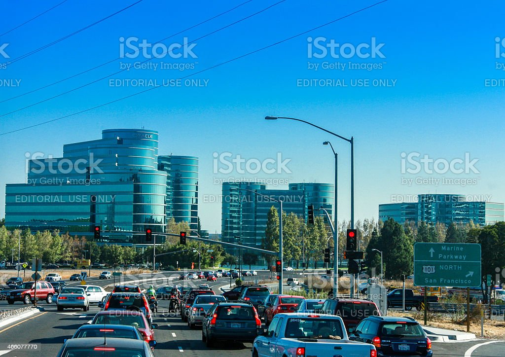 Traffic on the road to Oracle Headquarters in Redwood City stock photo