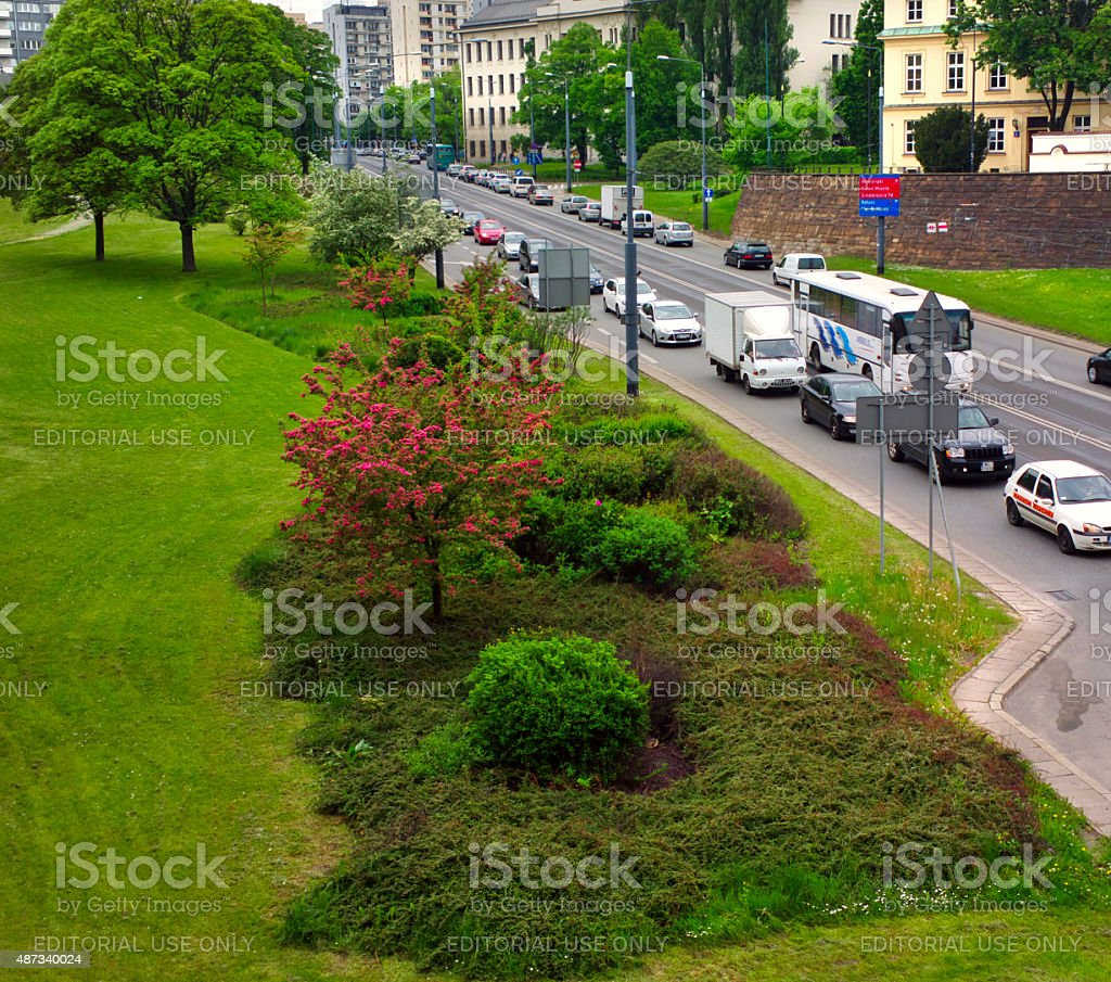 Traffic on the Street in Warsaw. stock photo
