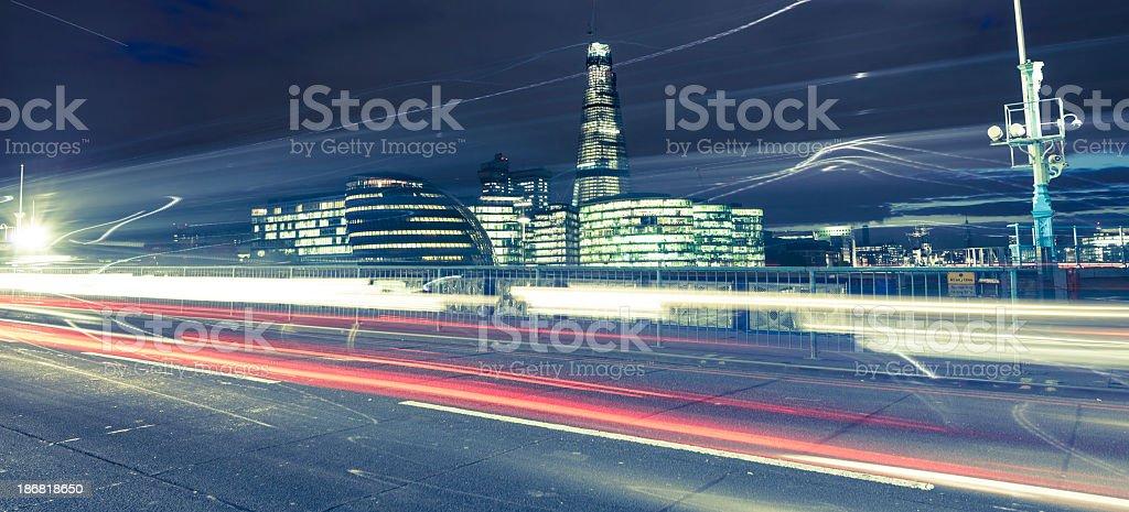 Traffic on Tower bridge by night royalty-free stock photo