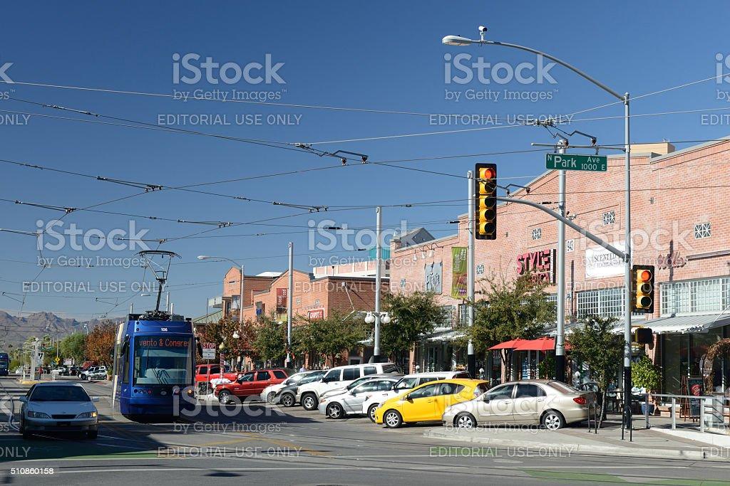 Traffic on University Boulevard in Tucson stock photo