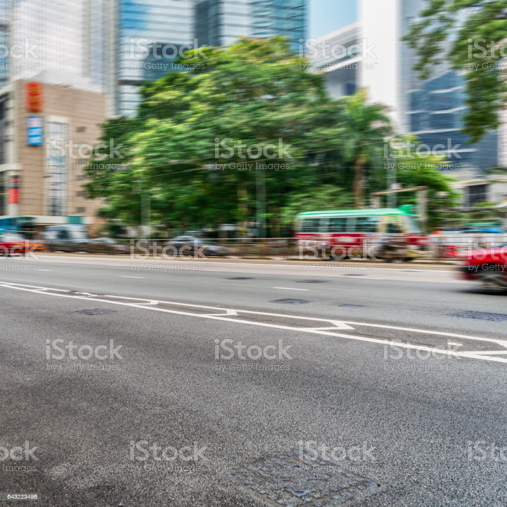 traffic on urban street,Hong Kong,China stock photo