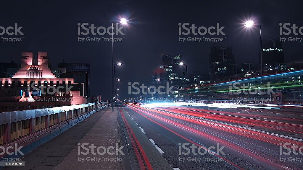 Traffic on Vauxhall Bridge at night stock photo