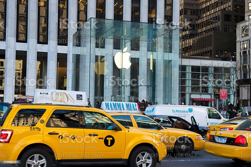 Traffic outside  Apple Store  at Fifth Avenue, New York City stock photo