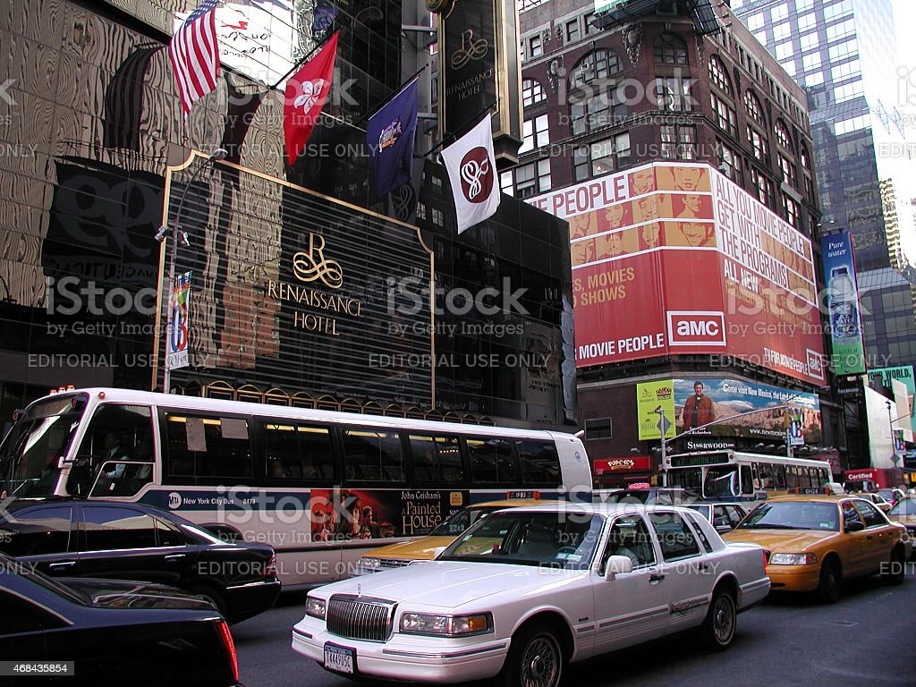 Traffic outside the Renaissance Hotel in Times Square stock photo