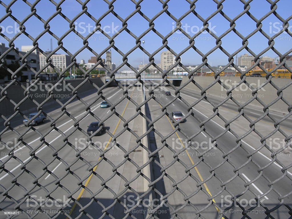 Traffic over the freeway royalty-free stock photo