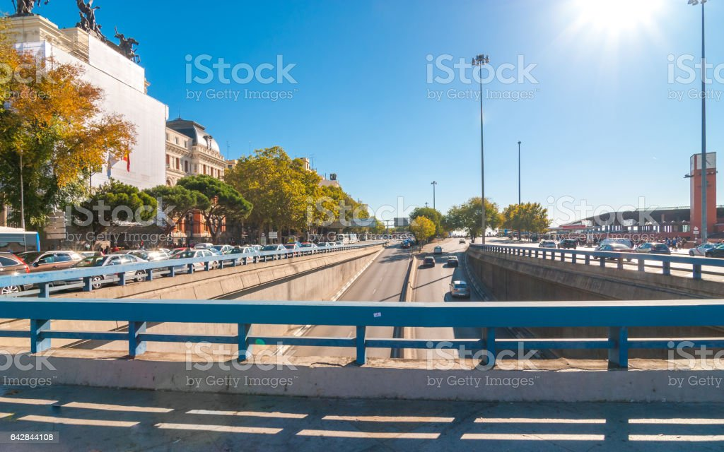 Traffic & people on the move in Madrid. stock photo