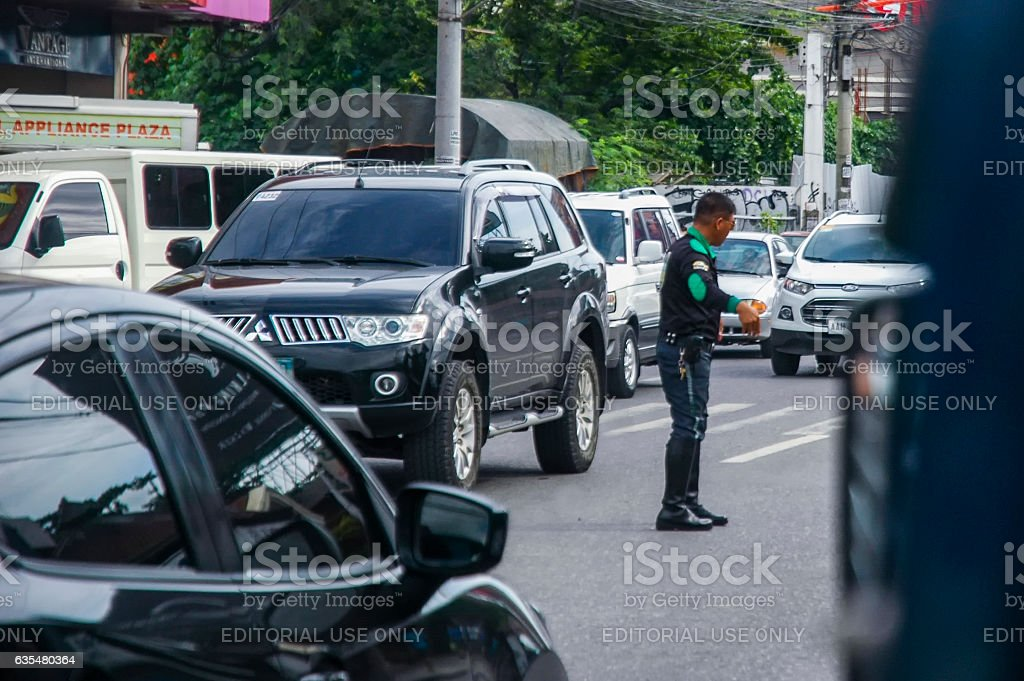 Traffic Police in action stock photo