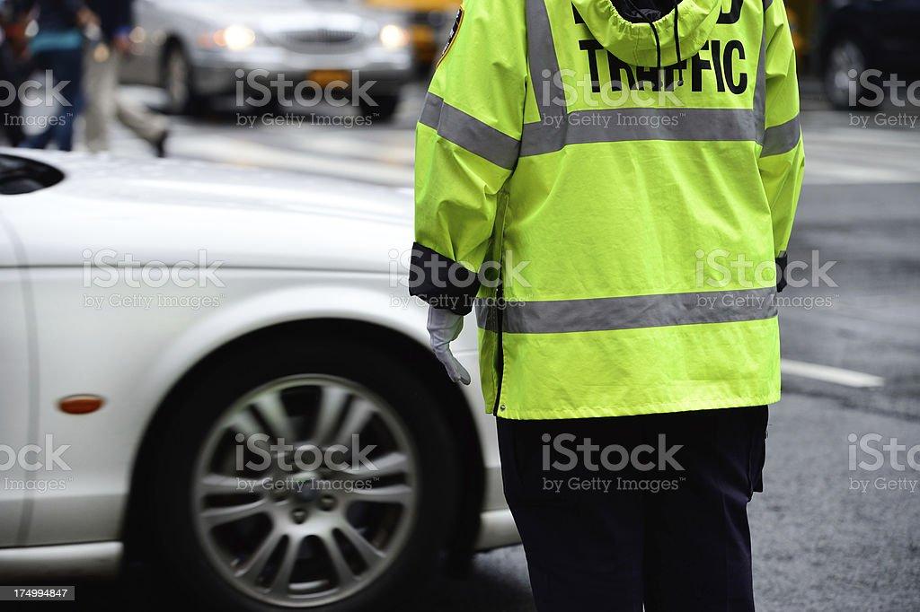 NYC traffic police in rain stock photo