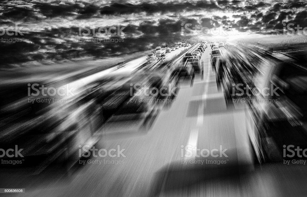 Traffic Polution dark clouds stock photo