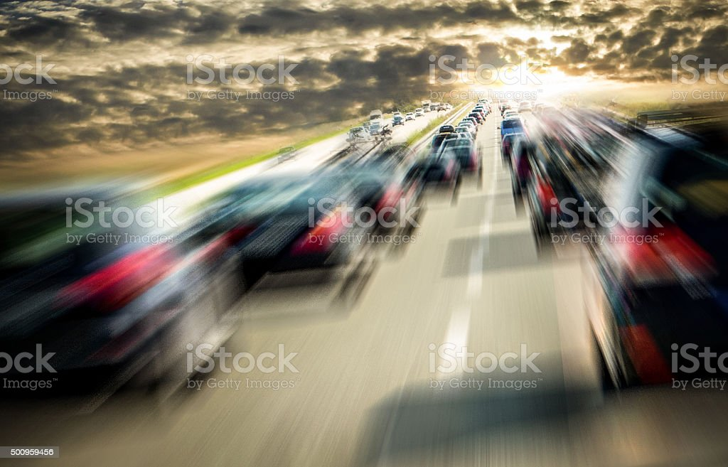 Traffic polution dark clouds stock photo