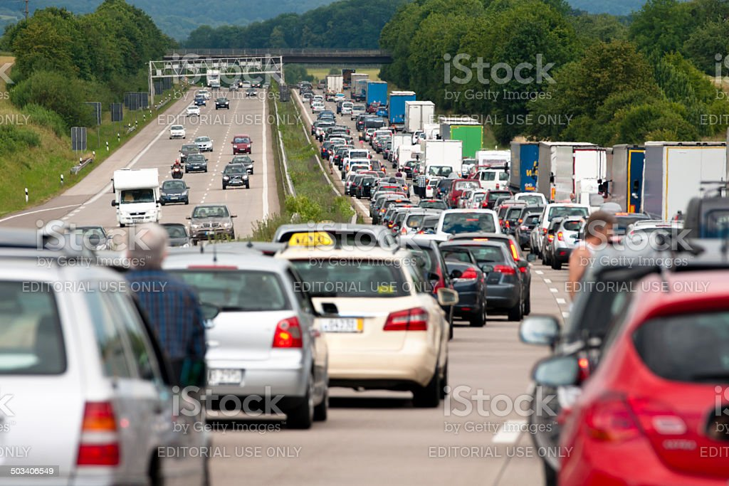 Traffic queue on a German autobahn westbound fairly near Stuttgart stock photo