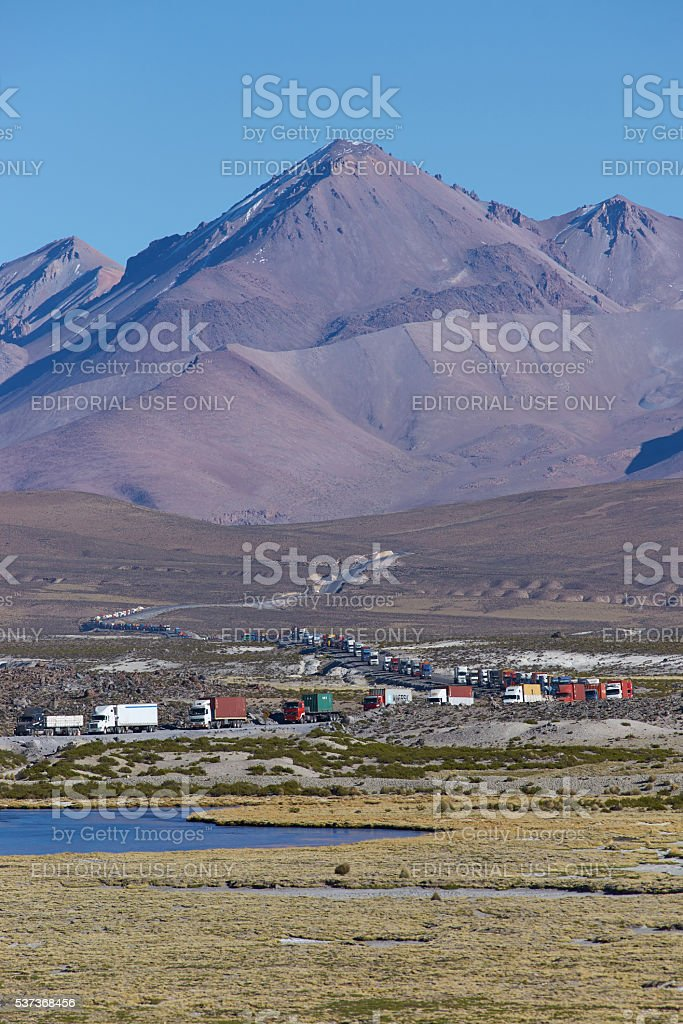 Traffic Queue on the Altiplano stock photo