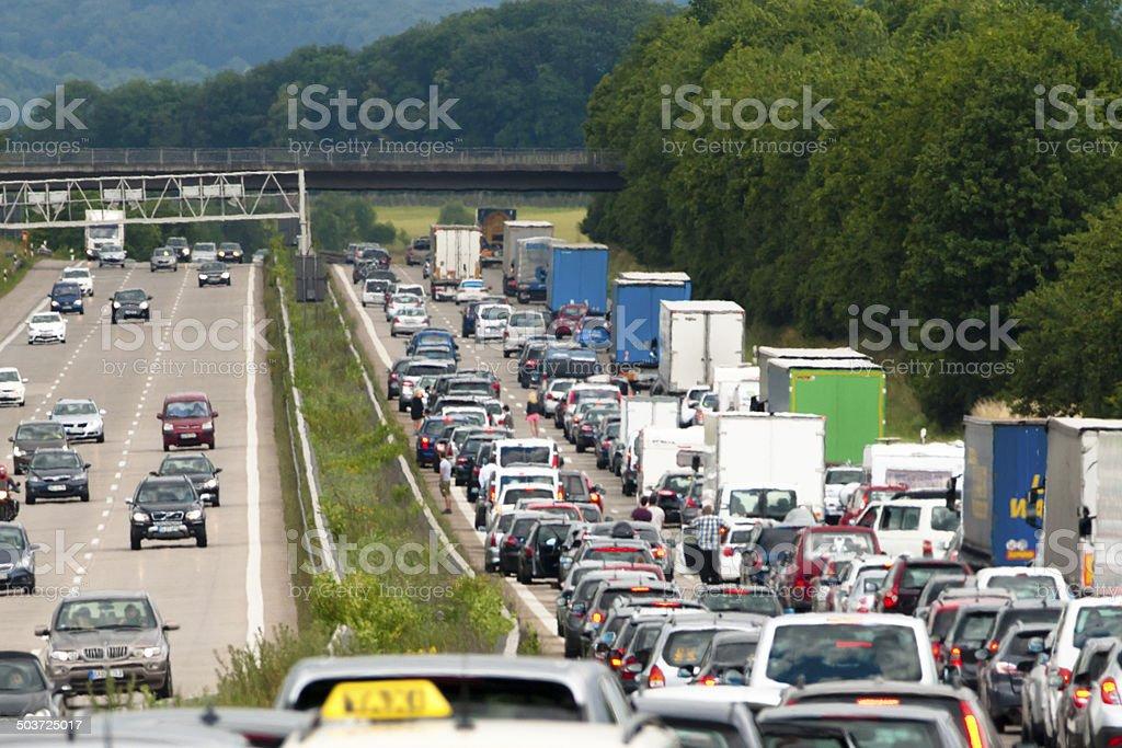 Traffic queue westbound on a German autobahn near Stuttgart stock photo
