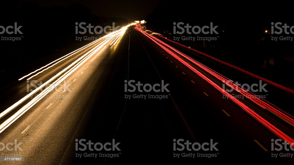 Traffic road by night stock photo
