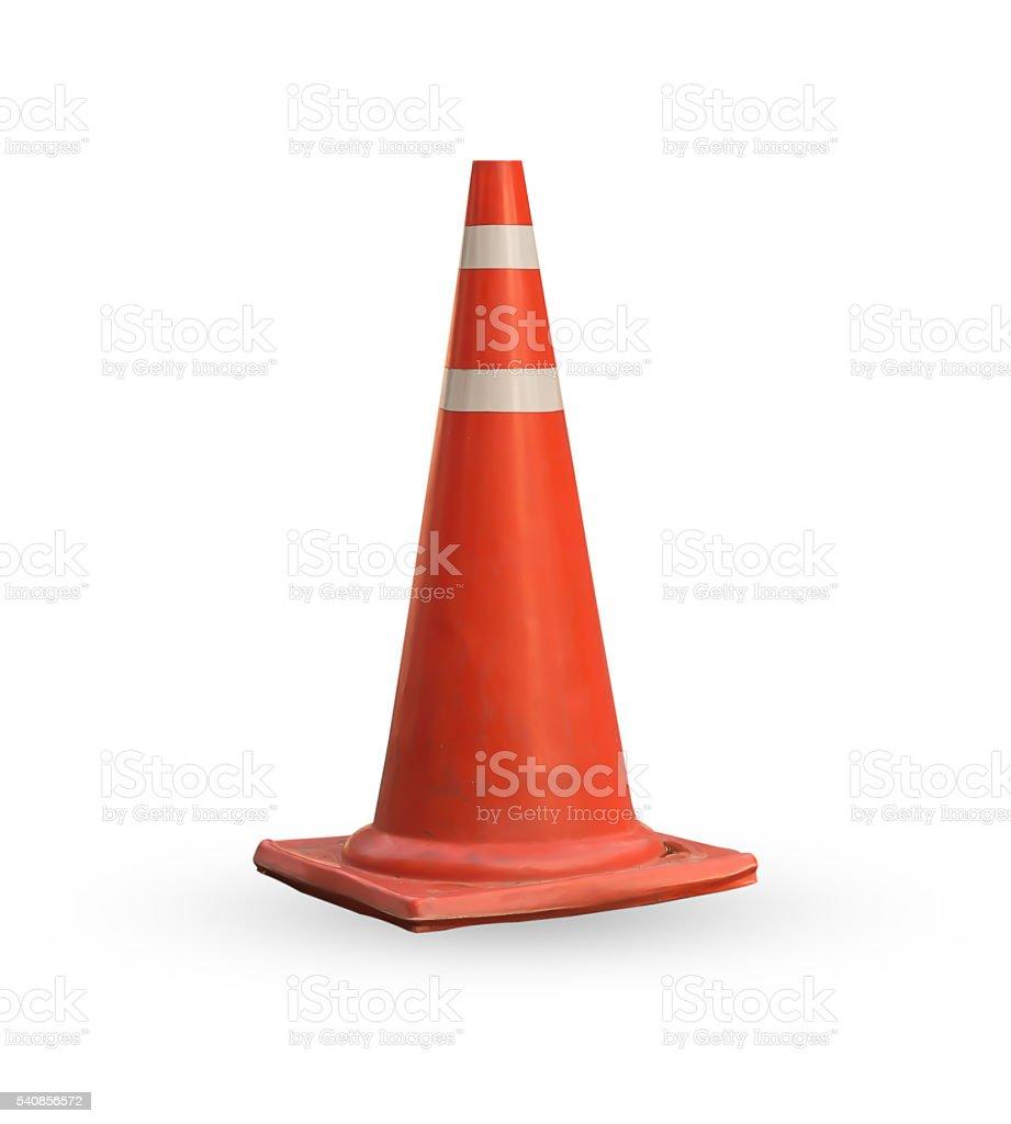 Traffic road cone pylon on white background stock photo