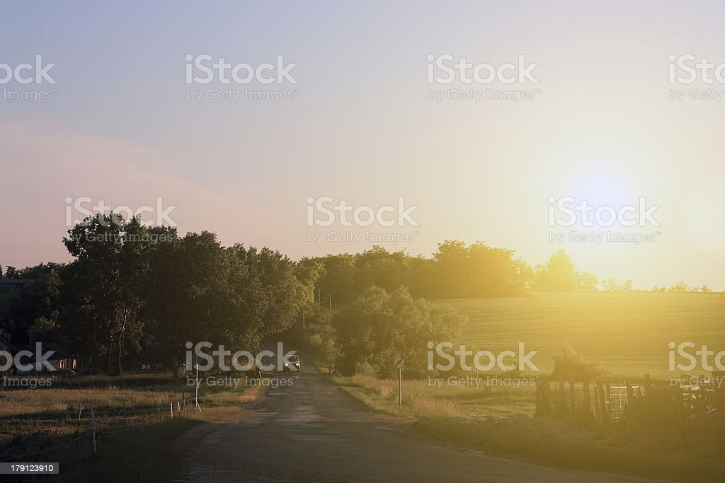 Traffic road in sunset royalty-free stock photo