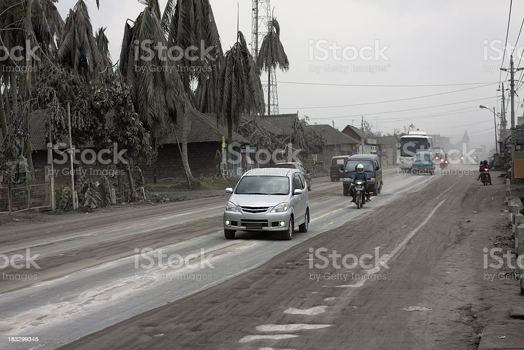 Traffic scene in volcano affacted area, Indonesia stock photo