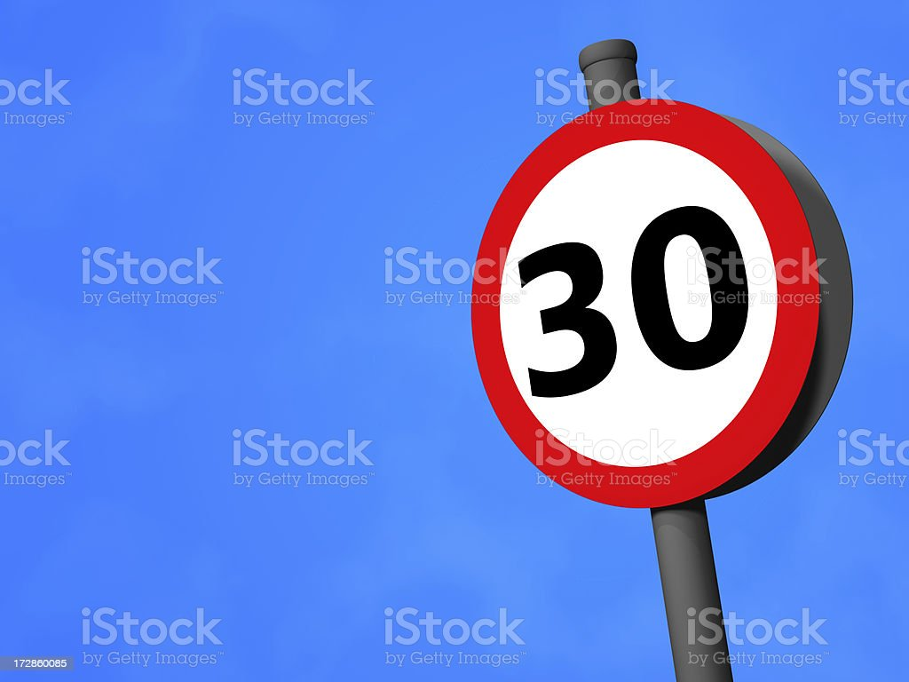 UK Traffic Sign - 30mph Speed Limit royalty-free stock photo