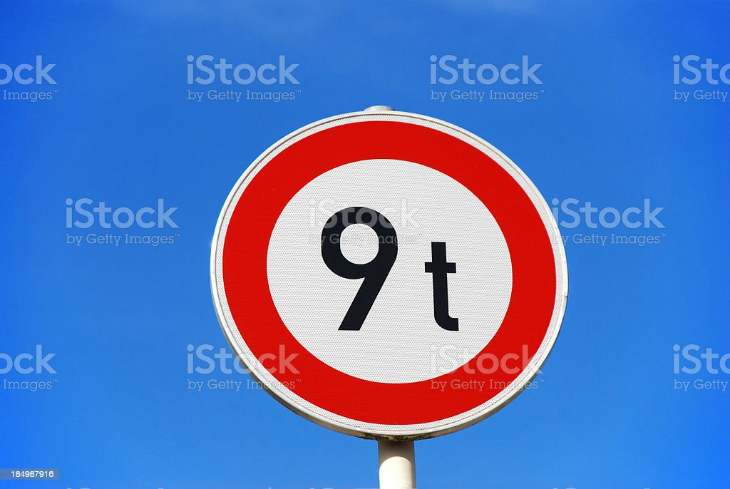 traffic sign 9t royalty-free stock photo