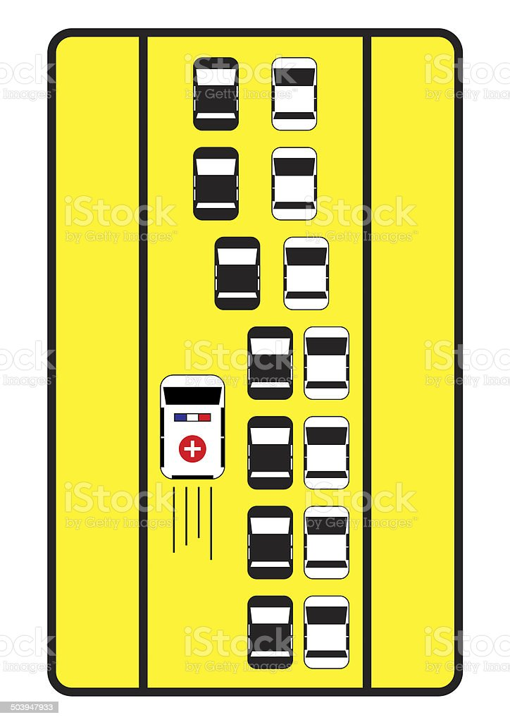 Traffic sign advise cars give left way to ambulance. stock photo