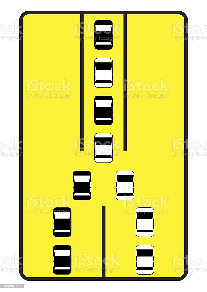 Traffic sign advise cars to move one by one. stock photo