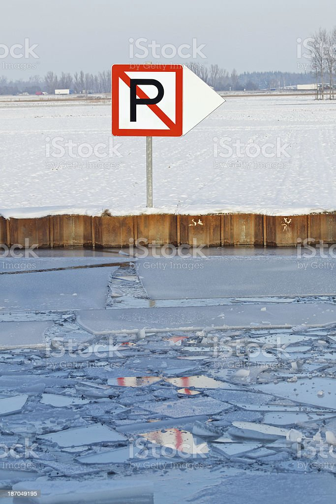 Traffic sign at the Marne-Rhine Canal in Alsace, France stock photo