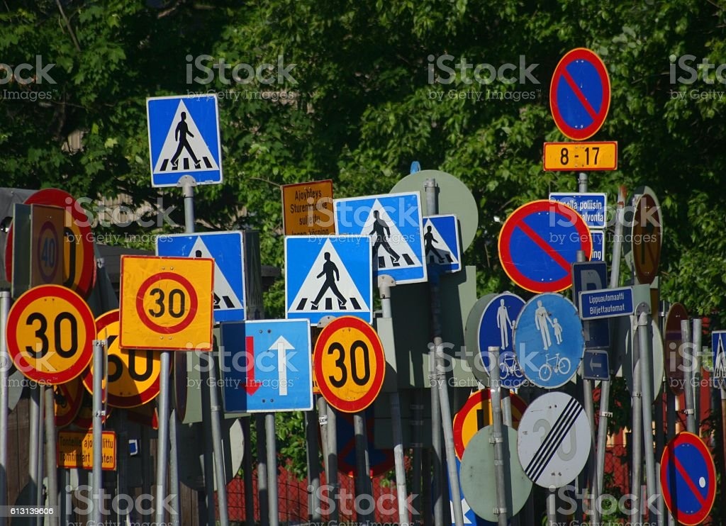 Traffic sign chaos stock photo