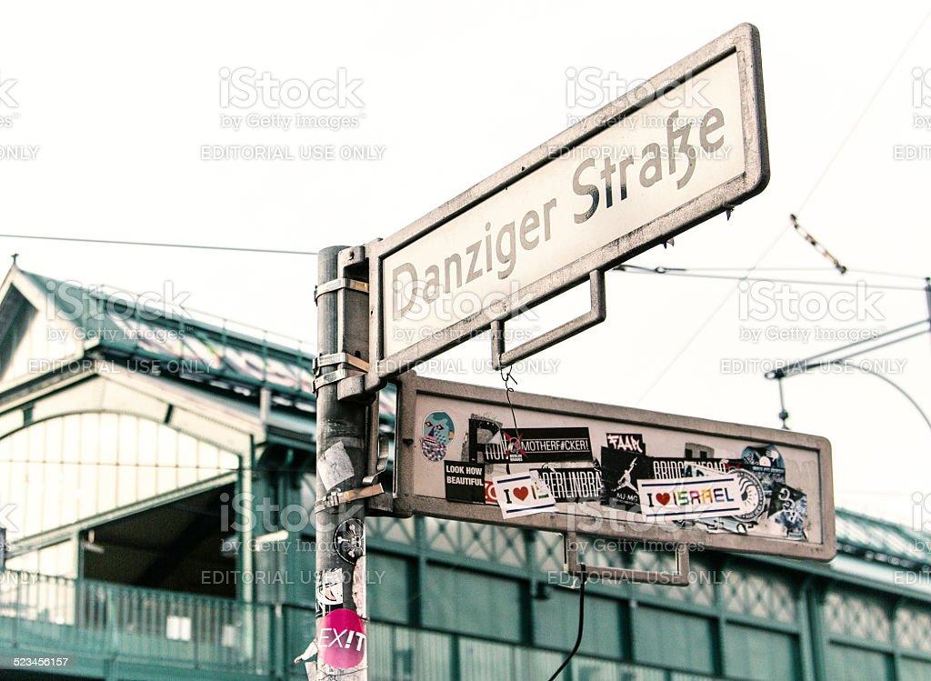 Traffic sign - Danziger Strasse - Prenzlauer Berg. stock photo