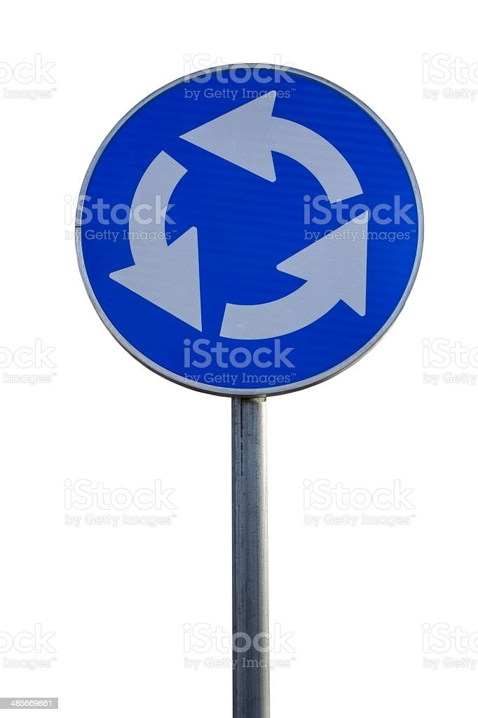 Traffic sign for roundabout stock photo