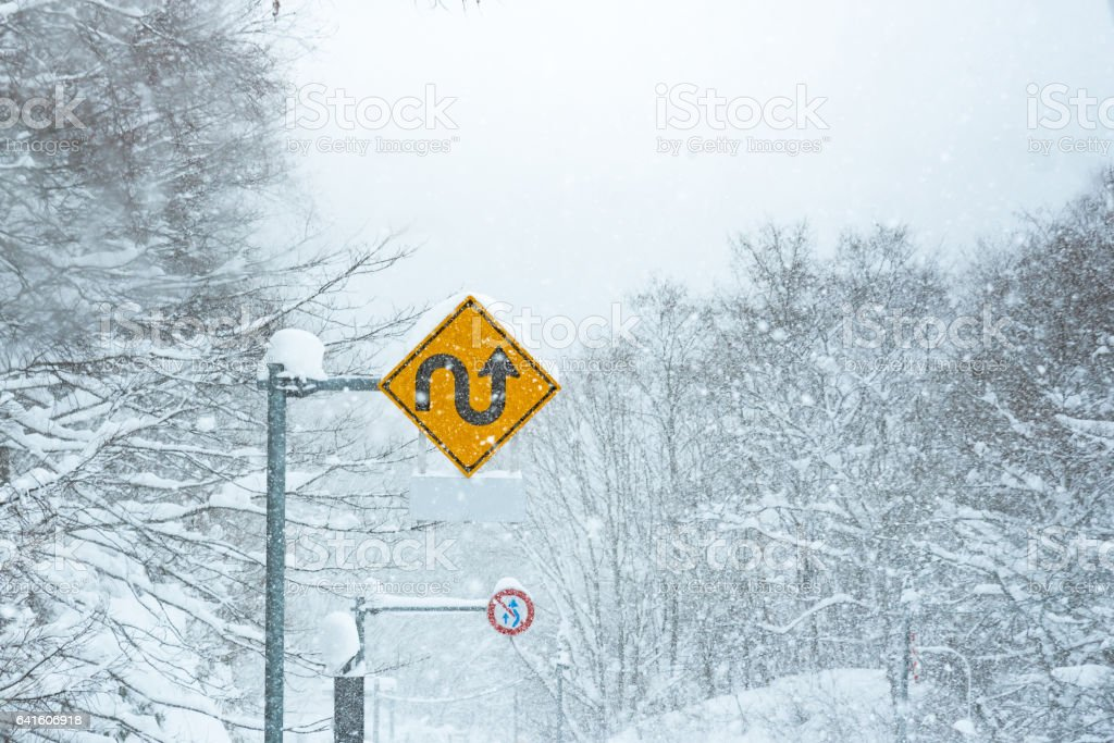 Traffic sign in snow stock photo