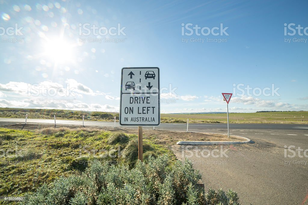 Traffic sign, left side driving, Great Ocean Road, Australia stock photo