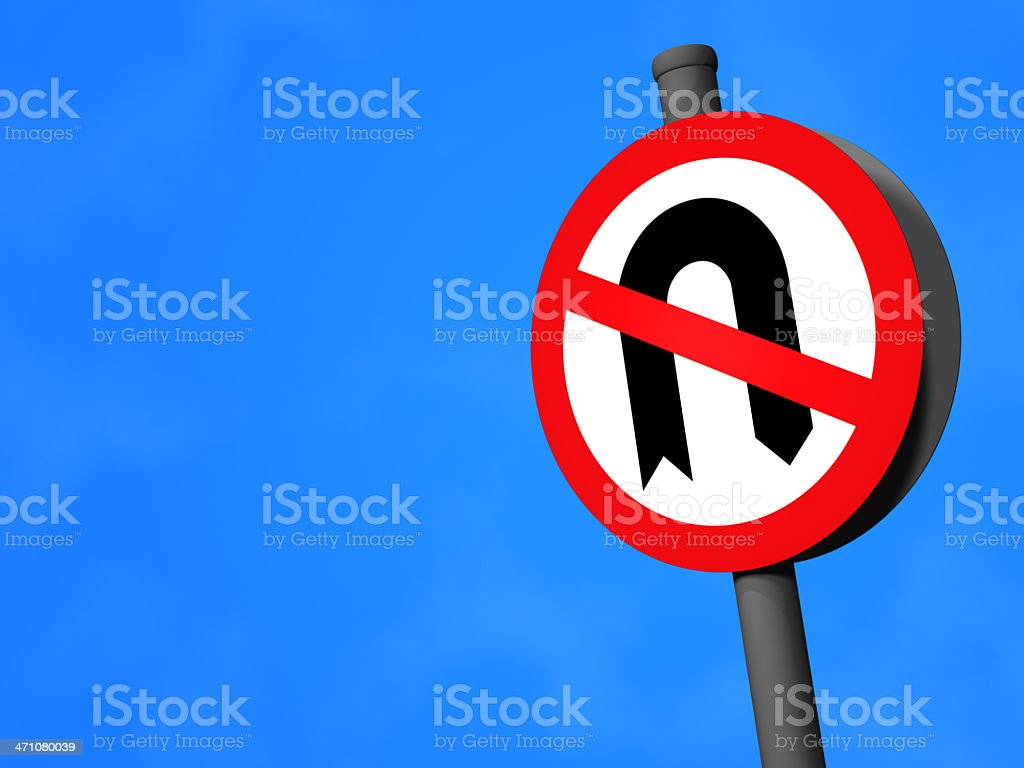 UK Traffic Sign - No U-Turns stock photo