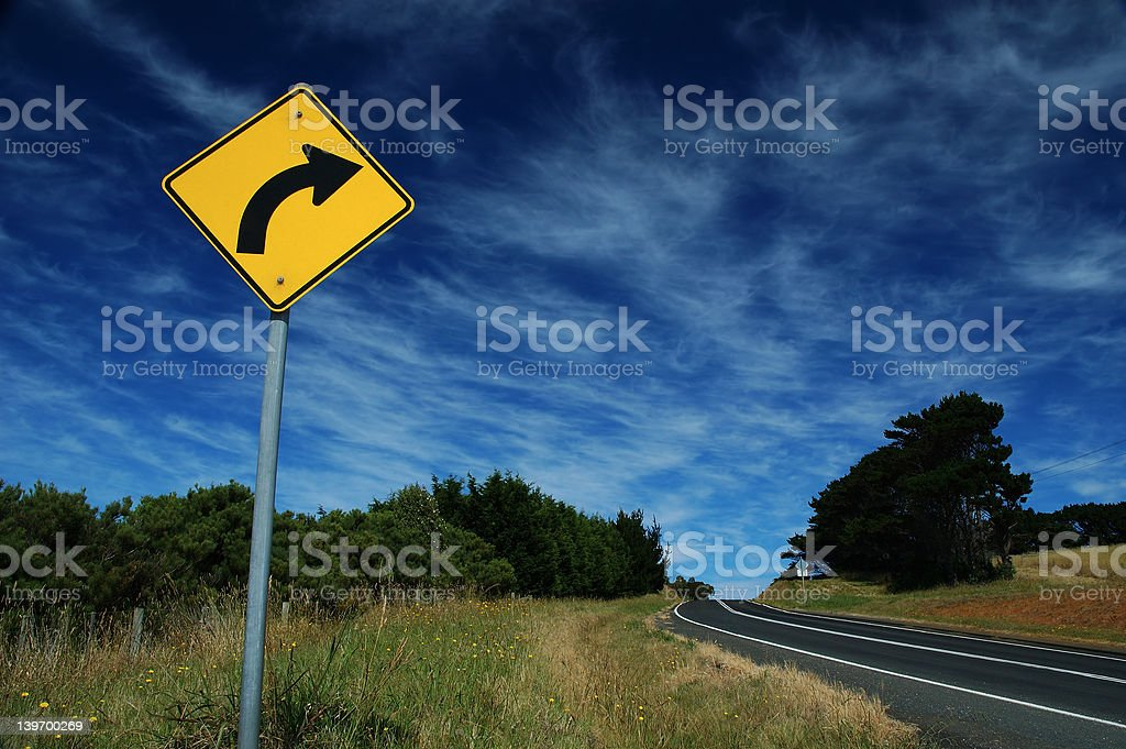 Traffic sign on a road stock photo