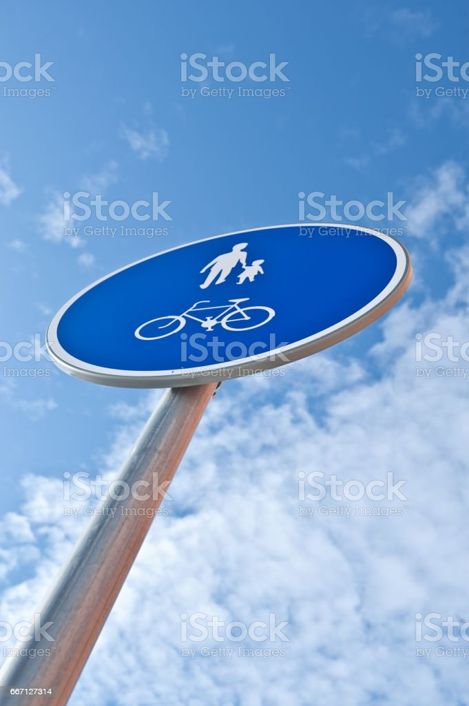 Traffic Sign - Pedestrian and Bike Path Only Sign stock photo