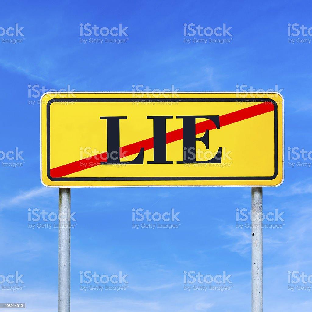 Traffic sign prohibiting lying stock photo