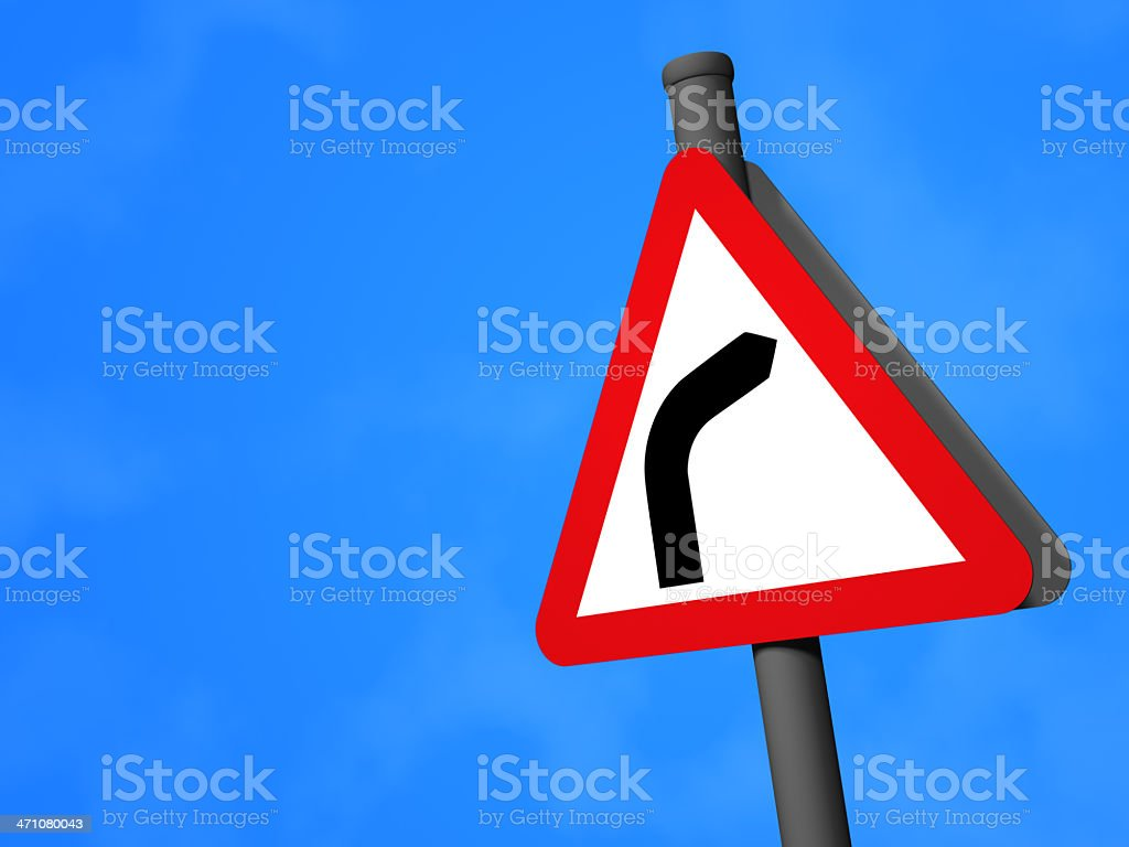 UK Traffic Sign - Righthand Bend royalty-free stock photo