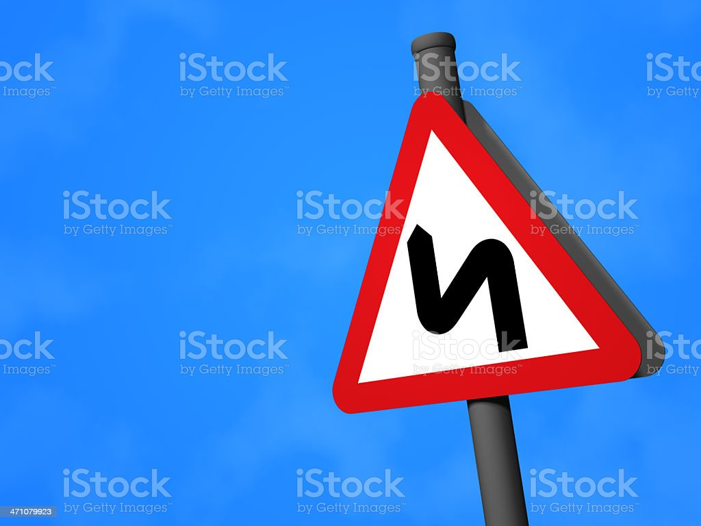 UK Traffic Sign - Road Bends stock photo