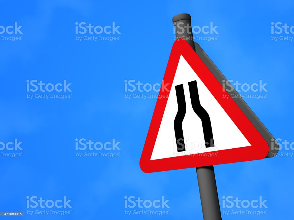 UK Traffic Sign - Road Narrows Ahead royalty-free stock photo