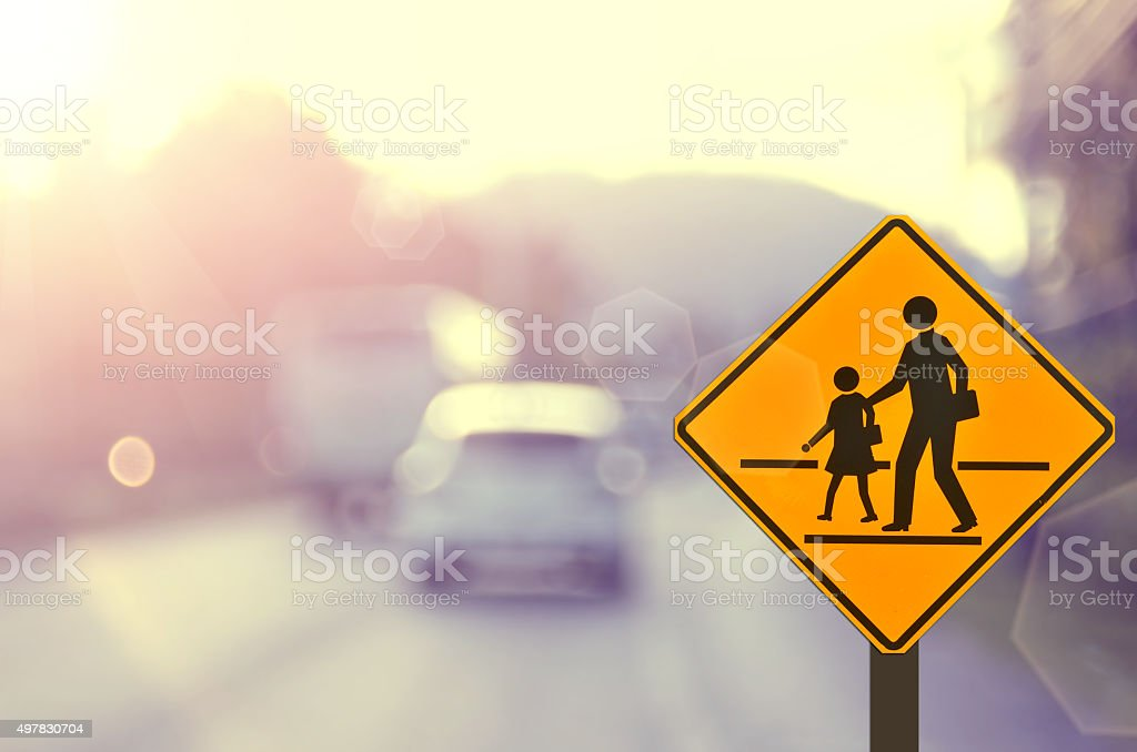 Traffic sign road on blur road abstract background. stock photo