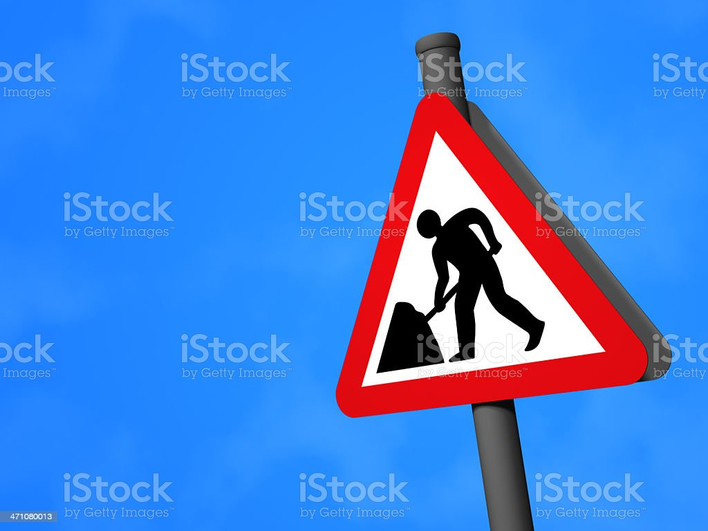 UK Traffic Sign - Road Works royalty-free stock photo
