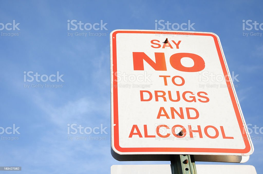 Traffic sign signaling no to drugs and alcohol royalty-free stock photo