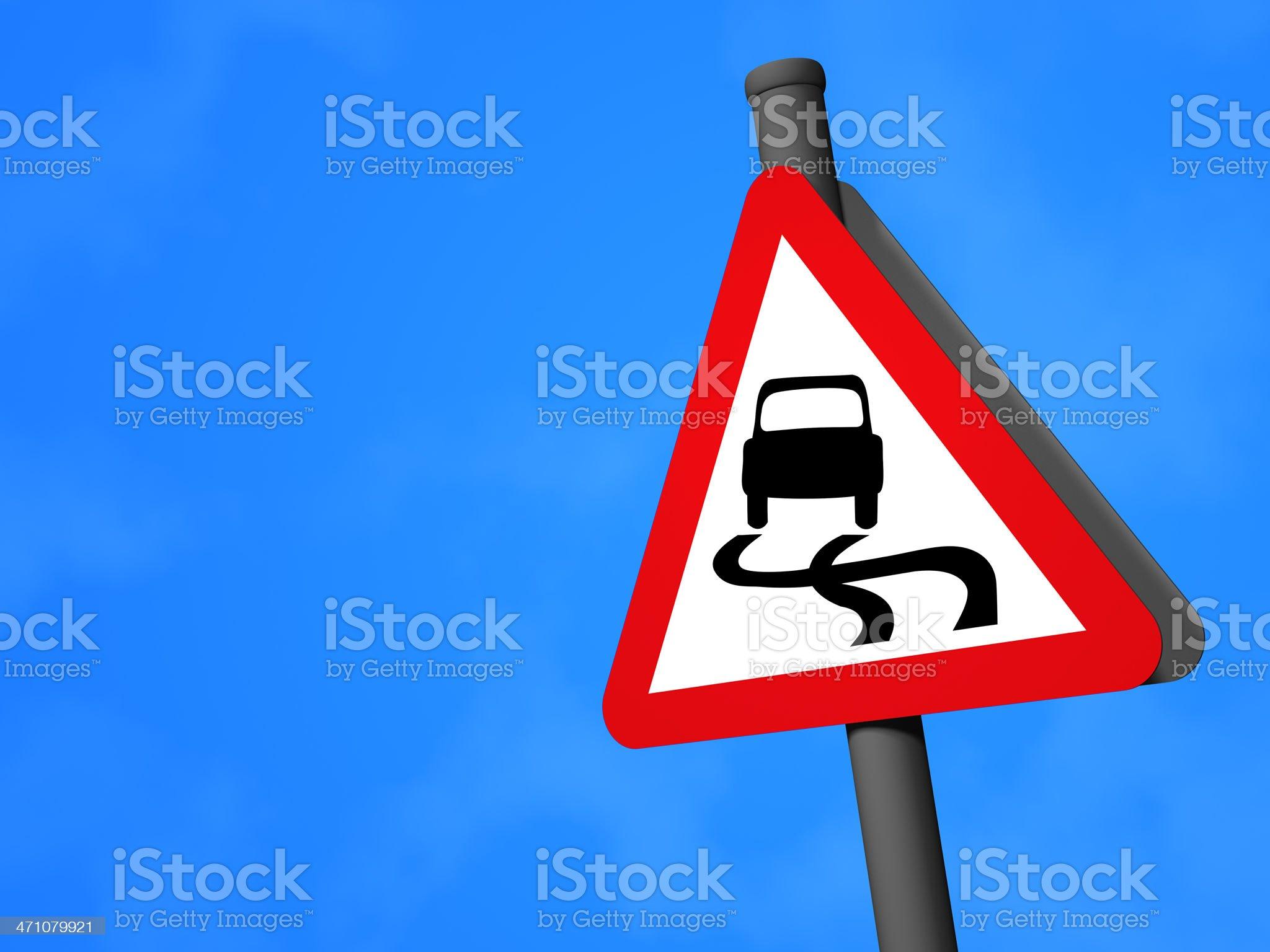 UK Traffic Sign - Slippery Road royalty-free stock photo