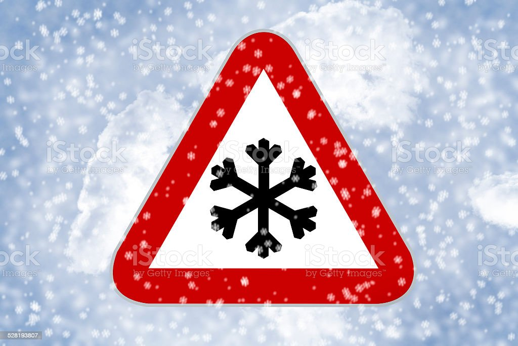 Traffic sign Snow on the road stock photo